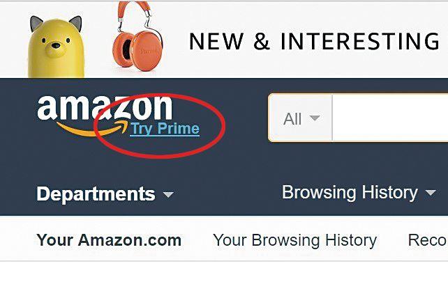 從網站的左上角「Try Prime」進入