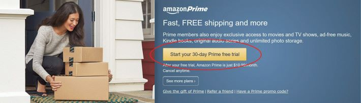 轉畫面,見到一個黃色按掣「Start your 30-day Prime free trial」即可開始試用。