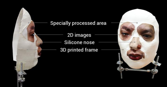 這個面具一眼就看得出並不完整,不過就能破解 Face ID 。部分表面經過特別處理,而眼睛和嘴巴則只是一般 2D 打印機打印出來。