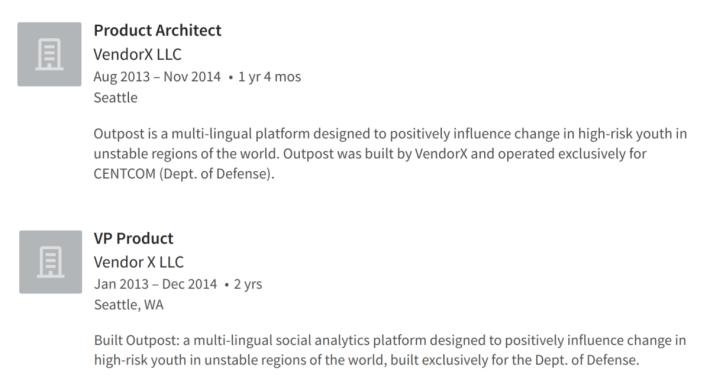LinkedIn 上有關 VendorX 為美國國防部開發 Outpost 平台的說明