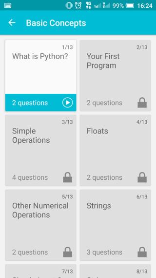 App 中有多個課題。