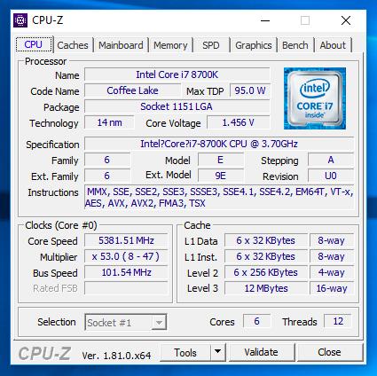 筆者利用 Core i7-8700K,以一體式水冷測 試此板的超頻表現,結果顯示 CPU 可超頻至5,381MHz。