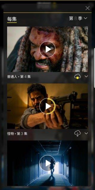 劇集更可下載到裝置,以便日後播放,而未看完的節目,在播放鍵內會以黃色顯示已看進度。