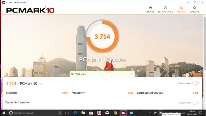 PCMark 10 跑出 3,714 分,表現在一眾 Core i7-8550U 機種中屬前列。