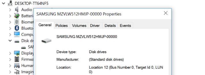 內建 512GB Samsung MZVLW512HMJP SSD,即是 PM961 型號。