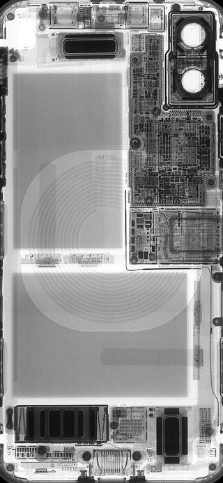 iPhone X 透視版本 (圖片來源 : iFixit)