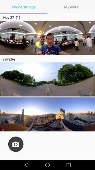 專屬應用程式 Huawei 360 Camera 主介面會顯示所有已拍攝的 360 相片。