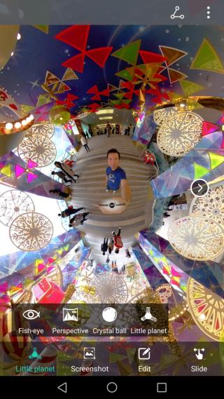 除可以透視方式顯示全景相片之外,也可選擇 Fisheye、Crystal ball 或 Little planet 方式去顯示。