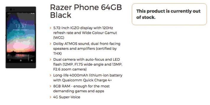 英國電訊商 3G 率先披露 Razer Phone 的產品規格。