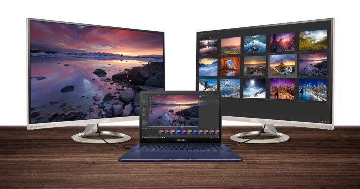 透過 Thunderbolt 3 介面可外接兩部 4K 顯示器,盡享多工應用的高效率。