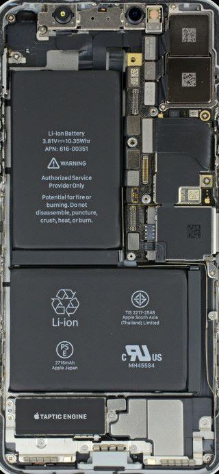 iPhone X 內部配置版本 (圖片來源 : iFixit)