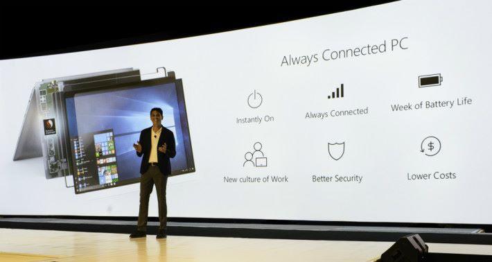 Microsoft 和 Qualcomm 在 Snapdragon 高峰會發表 ARM 架構處理器的 Win10 筆電「 Always Connected PC 」。