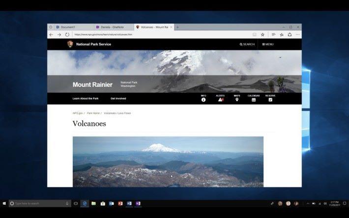 Sets 將不同文件和網頁整合在一個視窗,方便將同一個任務的相關檔案和參考資料整合在一起。