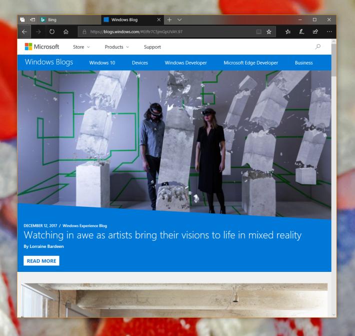 Microsoft Edge 可以揀選黑色風格,又整合了書籤管理。