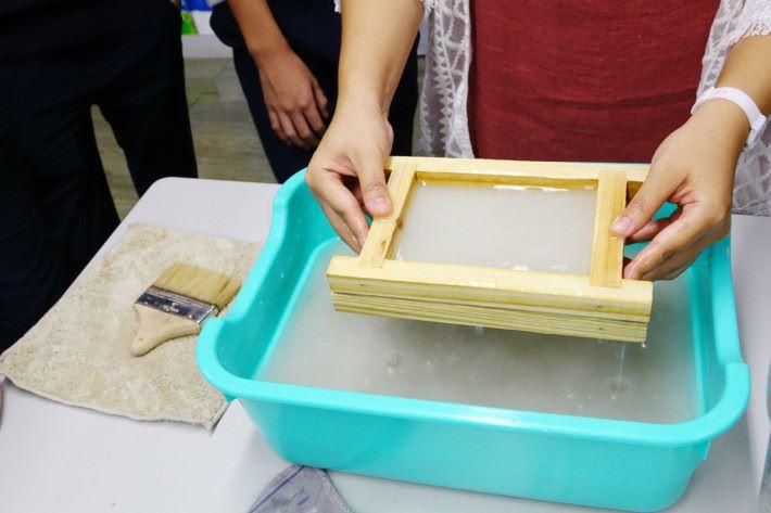 將撕碎紙加水並放入攪拌機攪至糊狀之後,利用網狀架,均勻的從水中撈出紙糊,重覆三至四次。