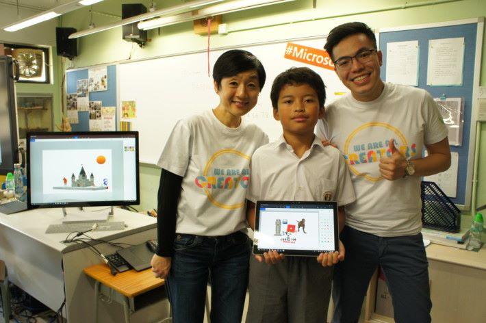 (左)微軟香港總經理陳珊珊與(中)道慈佛社楊日霖紀念學校學生陳永豐,共同製作智能新世界。