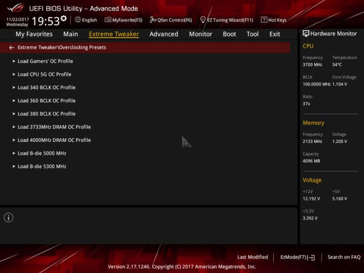 提供豐富的超頻設定檔。