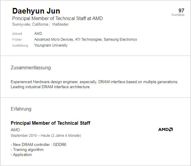 有 AMD 工程師在 LinkedIn 說自己負責 GDDR6 記憶體項目。