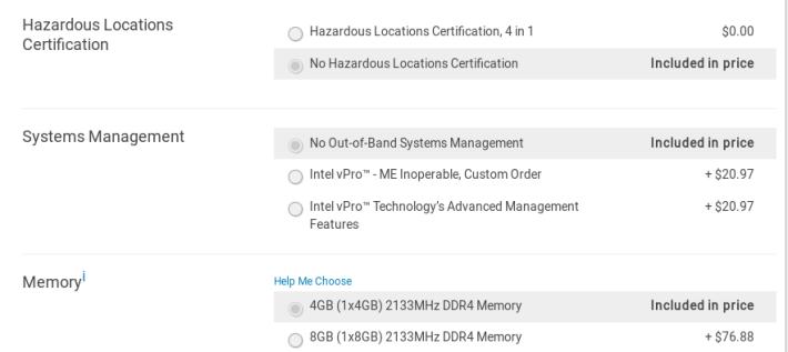 可加錢選擇出廠時「關閉 Intel ME」。