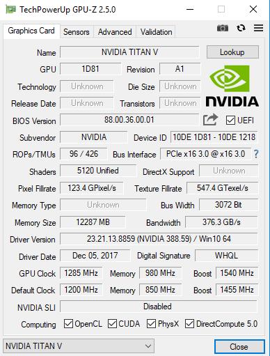 TITAN V 在 GPU-Z 上的規格數據。