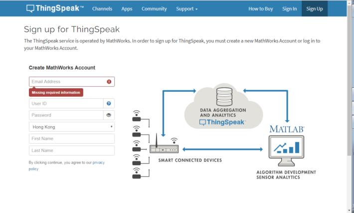 Step 1: ThingSpeak 的網站註冊戶口。
