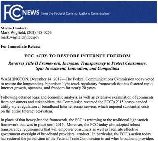 FCC 在通過撤銷決定後發表的聲明,稱這是恢復互聯網自由。