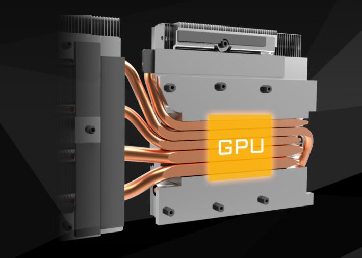 有一排熱導管直接接觸 GPU 表面。