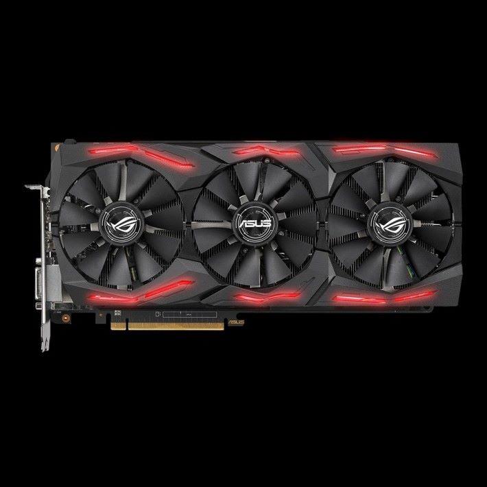 ASUS ROG STRIX RX Vega 64 O8G Gaming 顯示卡正面。