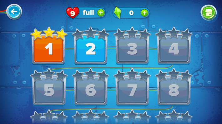 完成關卡後, App 給予一至三星的評價。