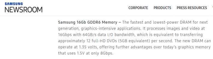 Samsung 的 GDDR6 記憶體將於明年 1 月 CES 亮相。