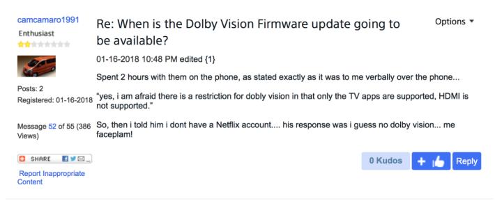 .有用動在美國 Sony 官方討論區留言,表示發現未能接駁 HDMI 使用 Dolby Vision,令不少用戶表示驚訝。
