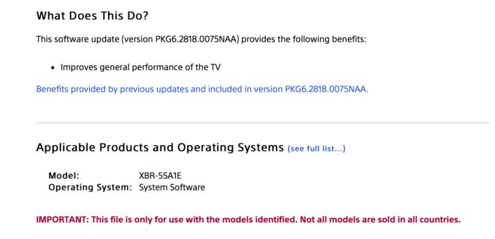 .新版軟件推出一日,Sony 已經在說明上修改了支援Dolby Vision 字眼。