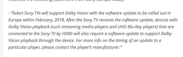 .網站 flatpanelshd.com 指得到 Sony 歐洲方面的回覆。