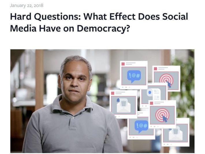 Facebook 社區參與專案經理 Samidh Chakrabarti 發表 Facebook 現時面對的問題