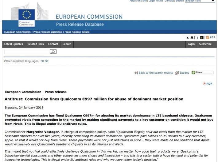 歐盟裁定 Qualcomm 違反競爭條例,向 Qualcomm 重罰 97 億港元