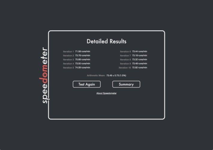 Speedometer 2.0 會列出 10 個測試循環的個別跑分結果,而每個跑分循環都是執行以不同架構來撰寫的同一個備忘錄 Web App 。