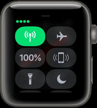 手表的控制中心左上角顯示 4 點即代表正使用流動網絡。