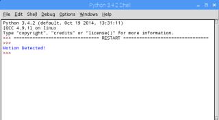 測試成功,程式會出現「 Motion Detected! 」的字句。