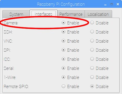 按「 Menu 」→「 Preferences 」→「 Rasberry Pi Configuration 」,然後切換至「 Interfaces 」頁面。