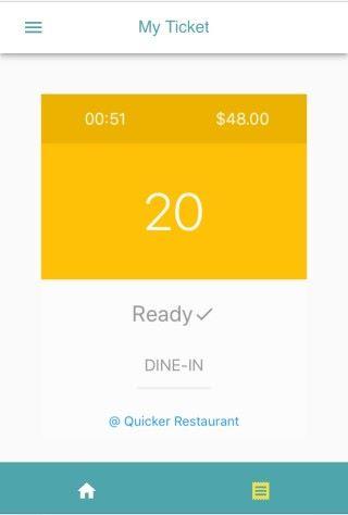 當餐廳預備好食物,會向用戶發出通知。