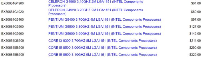 有澳洲網店列出 8 款未公佈的 Coffee Lake-S CPU 型號。