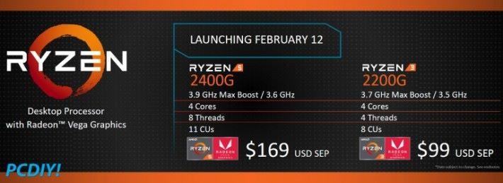 Ryzen 5 2400G 和 Ryzen 3 2200G 桌電版 APU 的規格。
