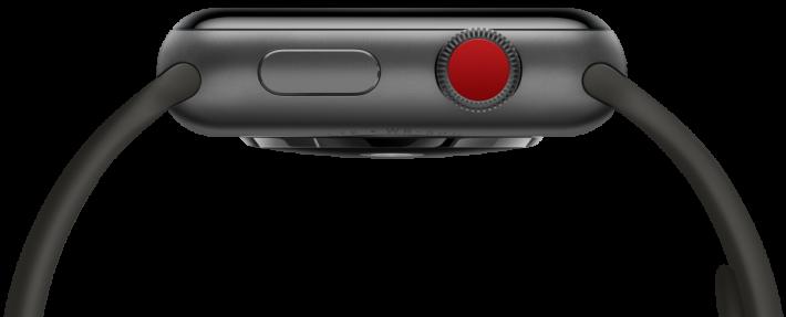 Apple Watch Series 3 GPS + Cellular 的特色就在於表冠的紅點