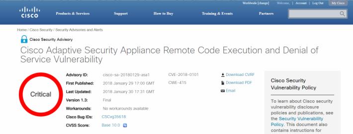 Cisco 把該漏洞的風險標為最嚴重的 10.0 分。