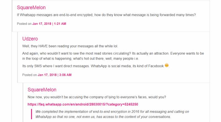 亦有網民懷疑 WhatsApp 沒有加密訊息,仍可看到用戶的訊息內容。