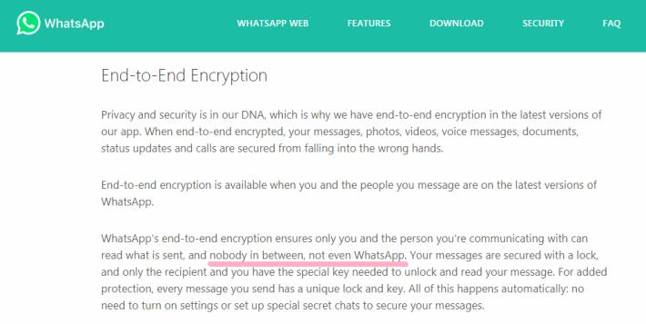 WhatsApp 在官網表明會進行端對端加密,連 WhatsApp 都不會知道訊息內容。
