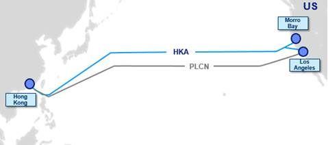 Telstra 投資興建的 HKA 和租用的 PLCN 海底光纜連接香港和美國。