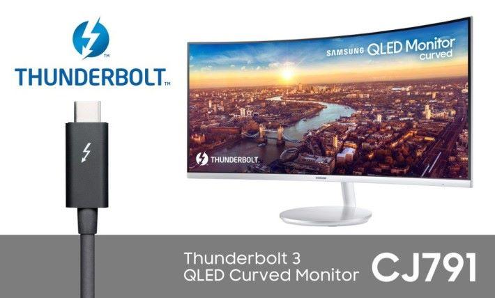透過筆電的Thunderbolt 3介面,為顯示器提供電力同時傳送影音訊號,連變壓器也省掉。