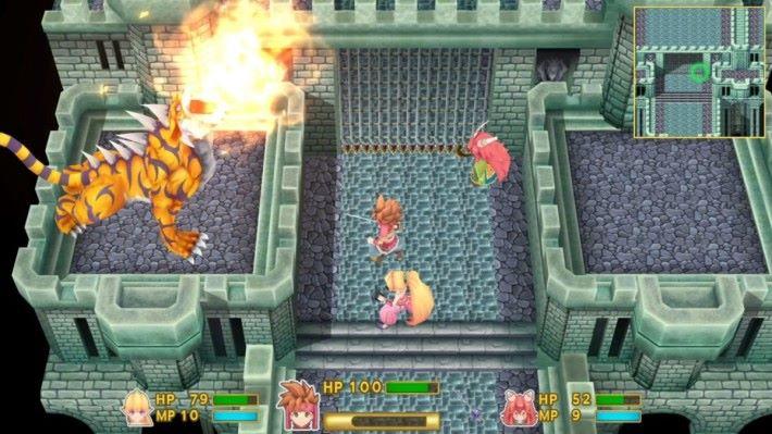 遊戲以即時戰鬥形式進行,最多支援三名玩家。
