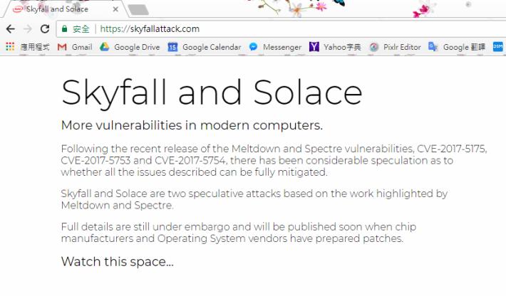 整個 Skyfallattack.com 只有數行文字。